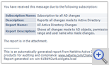 Active Directory audit report subscription example