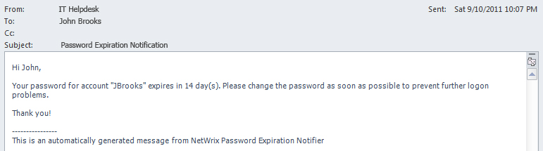 Example of Active Directory password expiration notification e-mail to the account owner