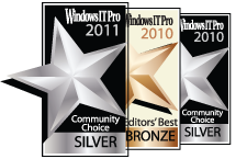 Windows IT Pro Community Choice and Editors' Best Awards of 2010 and 2011 that NetWrix Service Monitor received as Best Systems Monitoring Product