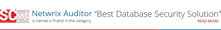 Netwrix Auditor is named a finalist in the category Best Database Security Solution
