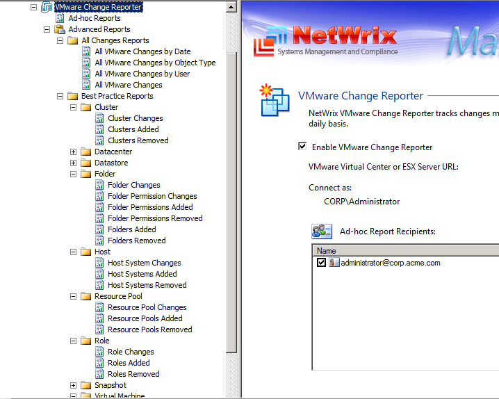 <b>VMware Change Reporter offers more than 30 predefined reports</b>
