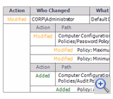 Group Policy change report example