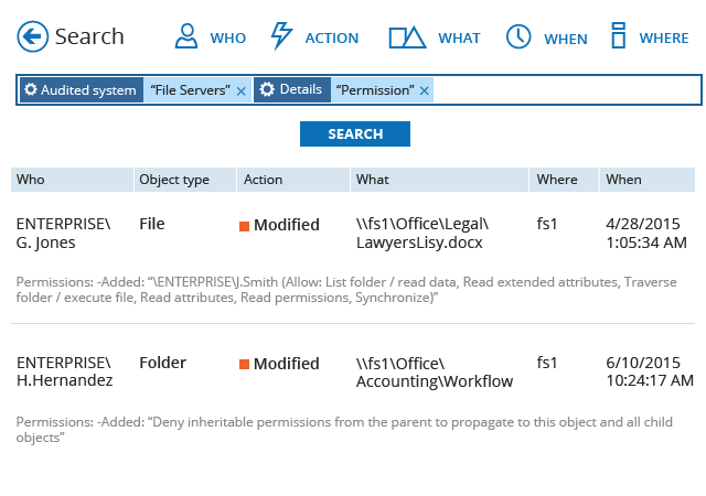 Easily search through file system audit data to investigate incidents
