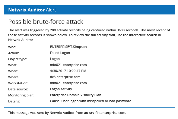 Possible brute-force attack alert from Netwrix Auditor