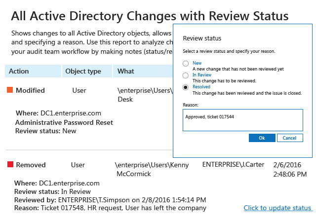 All Active Directory Changes with Review Status report from Netwrix Auditor: Action, Object type, What, Who and When with ability to review changes