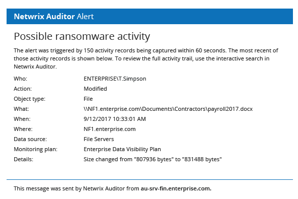 Netwrix Auditor Alert on Possible WannaCry ransomware activity