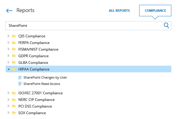Compliance reports from Netwrix Auditor: CJIS, FERPA, FISMA, NIST, GDPR, GLBA, HIPAA, ISO/IEC 27001, NERC CIP, PCI DSS and SOX compliance