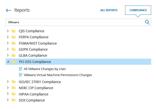 VMware PCI compliance report from Netwrix Auditor
