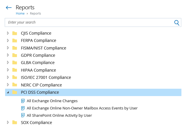 Office 365 PCI DSS Compliance Reports List