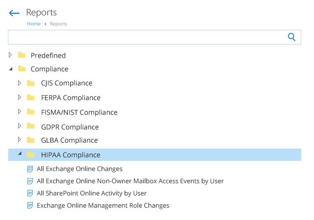 Office 365 HIPAA Compliance Reports List