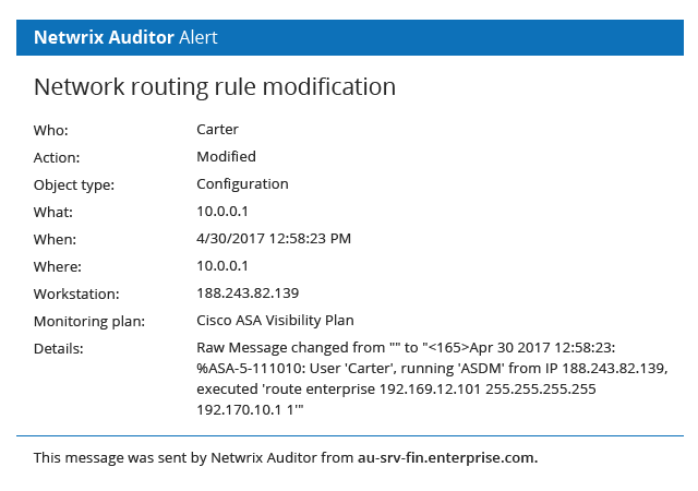 Has someone just changed a routing rule?