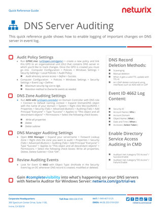 Netwrix Free Guides | DNS Server Auditing Quick Reference Guide