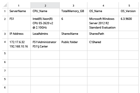 Export Server Inventory in Excel / CSV