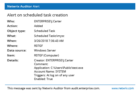 Netwrix Auditor Alert on scheduled task creation