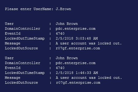 PowerShell account lockout sources report