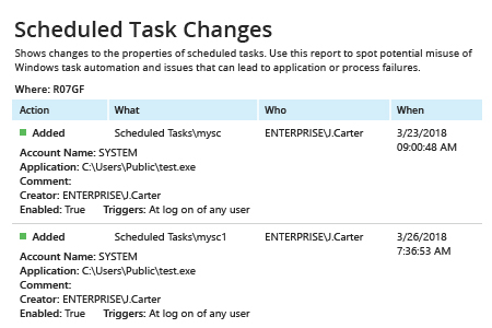 Scheduled Task Changes report from Netwrix Auditor: Action, What, Who and When