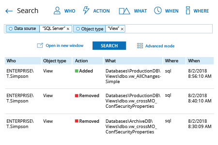 how to check SQL Server view permissions changes: Netwrix Auditor Interactive Search result