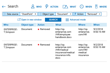 Detection who deleted file on SharePoint - Netwrix Auditor Interactive Search