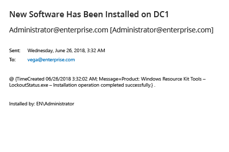 E-mail message: details on software installation on Windows server