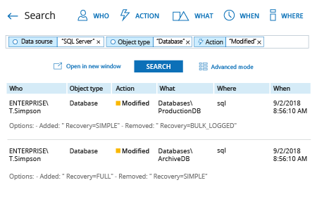 how to find database changes in sql server: Netwrix Auditor Interactive Search result