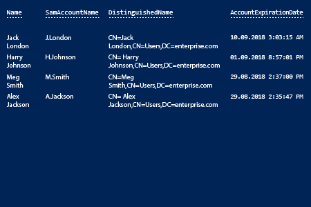 how to find expired accounts: PowerShell report