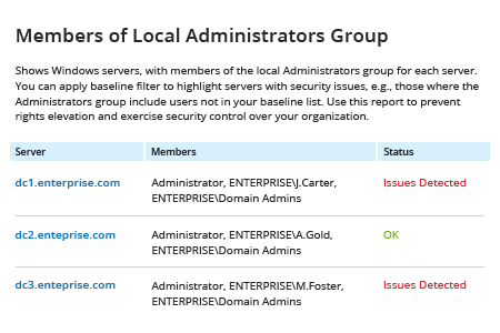 get local administrators with Netwrix Auditor: Members of Local Administrators Group Report