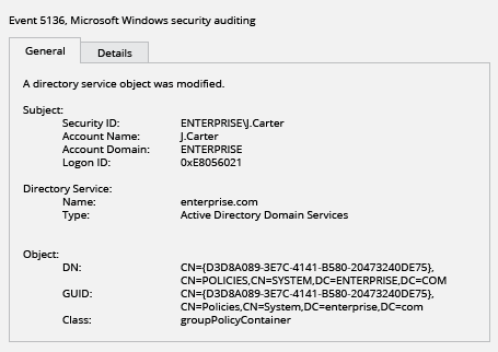 how to detect modifications to group policy using security log events