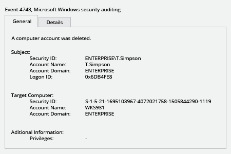 Microsoft Windows Security Event 4743: a computer account was deleted