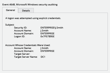 Microsoft Windows Security Event 4648: a logon was attempted using explicit credentials