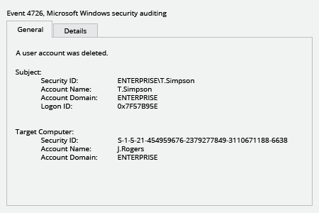 Microsoft Windows Security Event 4726: a user account was deleted