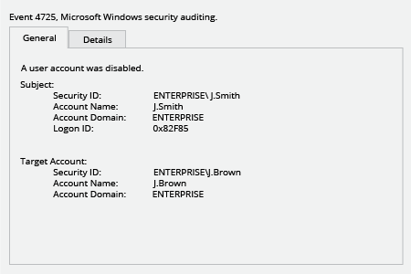 Microsoft Windows Security Event 4725: A user account was disabled