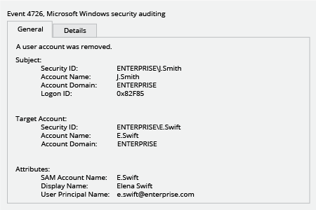 Microsoft Windows Security Event 4726: A user account was removed