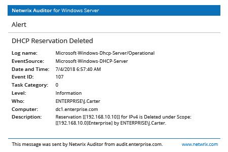 Netwrix Auditor Alert: DHCP Reservation Deleted