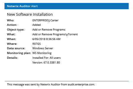 Netwrix Auditor Alert: New Software Installation