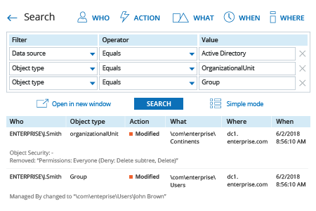 Netwrix Auditor Search: detect changes to organizational units and groups in Active Directory