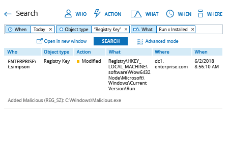 Netwrix Auditor Search: detect modifications to startup items in the Windows Registry