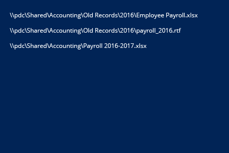 Powershell find file report