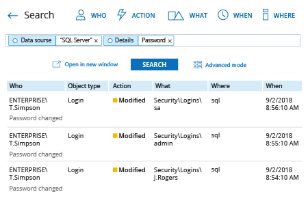 how to track login password changes in SQL Server: Netwrix Auditor Interactice Search result