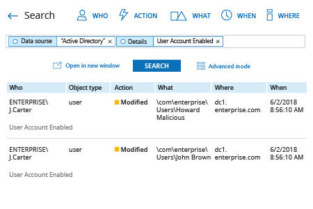Netwrix Auditor report on who enabled user account in Active Directory