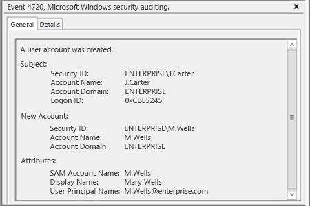 Microsoft Windows Security Event 4720: a user account was created