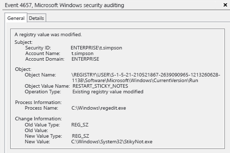 Microsoft Windows security event 4657: a registry value was modified