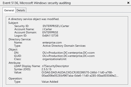 Sample Report - How to Detect Who Modified Permissions to an Organizational Unit