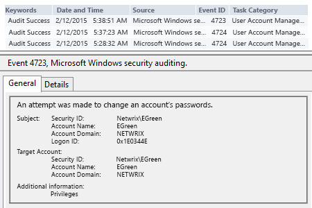 Event viewer and search Security log for event id's