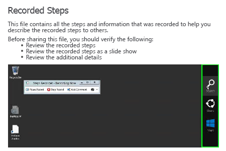 PSR.exe Recorded Steps