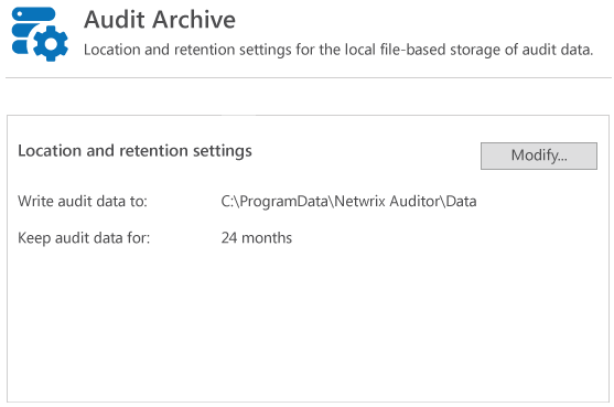 Store the entire file change monitoring data for as long as needed