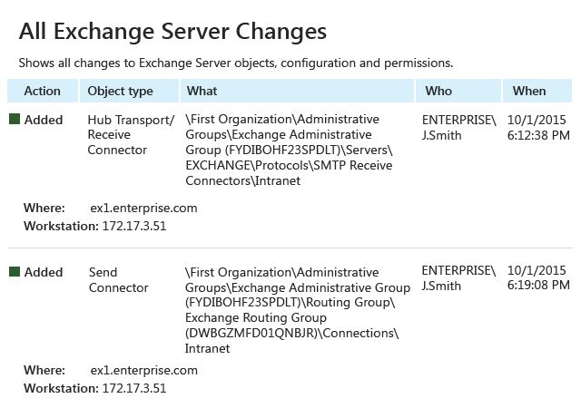 Detect and validate changes to Exchange Server configuration