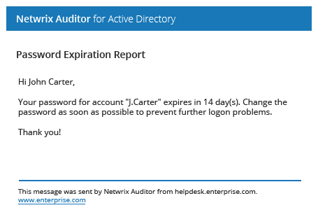 Password expiration notifications from Netwrix Auditor